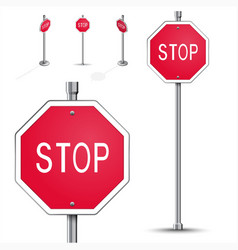 Stop road sign vector