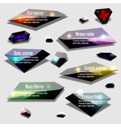 Abstract polygonal jewel bubble label banner set vector