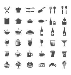 Restaurant kitchen icons vector