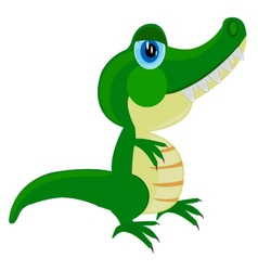 Cartoon of the crocodile on white vector