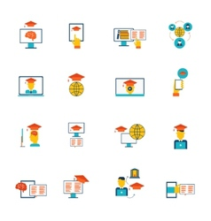 Online education icons flat vector