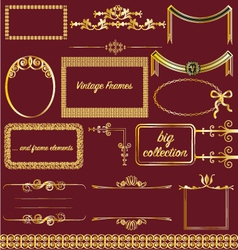 Vintage frames collection gold victorian borders vector