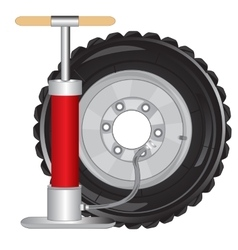 Wheel of the car and pump vector