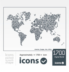 Set of icons packed to earth shape vector