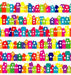 Background with colored doodle houses vector