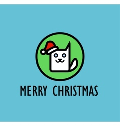 Christmas card with image of cute kitty vector