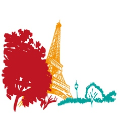 Eiffel tower hand drawn paris vector