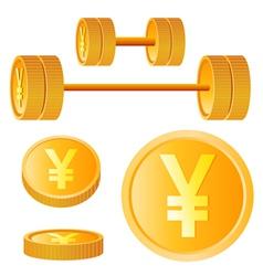 Dumbbell of golden discs with yen vector