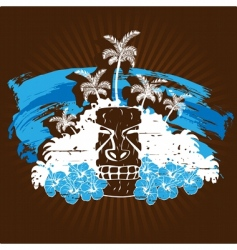 Blue and brown tropical grunge vector