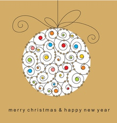 Christmas card with ball vector