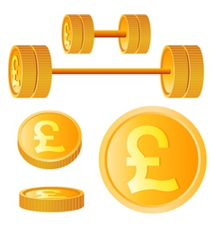 Dumbbell of golden discs with pound vector
