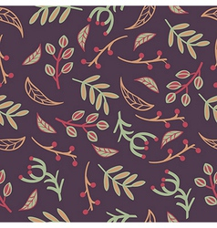 Seamless pattern with leaves branches laurels vector