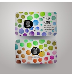 Watercolor colorfull dots paint card design vector