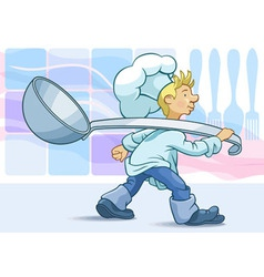 Cook hastens for work vector