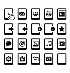 Tablet balck icons set with reflections vector