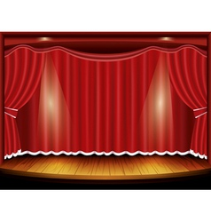 Theater stage with red curtain and spotlight vector