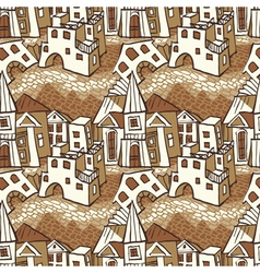 Seamless pattern town vector