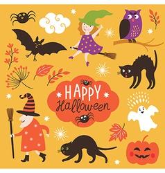 Set of cute halloween elements vector
