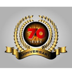 70 years anniversary golden label with ribbons ve vector