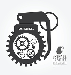 Gear distortion from grenade concept vector