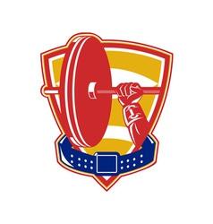 Weightlifting hand lift weights shield belt vector