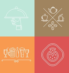 Linear catering icons vector