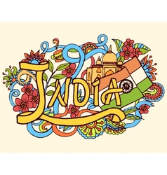 India art abstract hand lettering and doodles vector