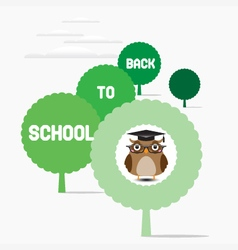 Owl teacher sat on a tree vector