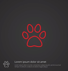 Cat footprint outline symbol red on dark vector