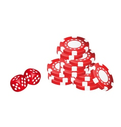Poker chips with dice vector