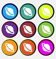 Jupiter planet icon sign nine multi-colored round vector