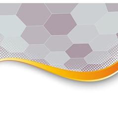 Hexagon structure background gold border vector