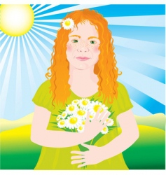 Ginger girl vector