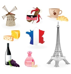 Collection icons of symbols of france vector
