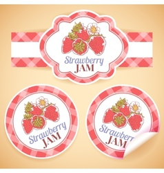 Strawberry jam labels vector