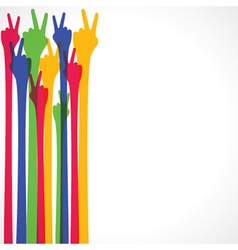 Colorful hand show victory sign vector