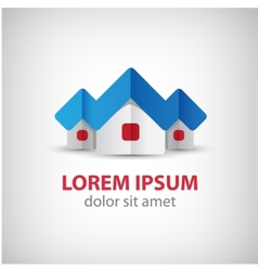 Houses origami paper icon logo isolated vector