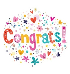 Congrats typography lettering decorative text card vector