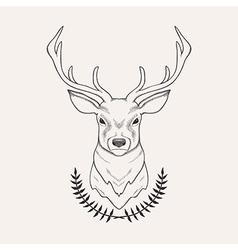 Hand drawn of deer and laurel vector