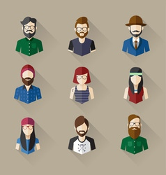 Icons set of male female faces in hipster theme vector