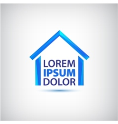 Blue house icon logo isolated vector