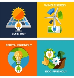 Set of flat design concepts - green energy vector