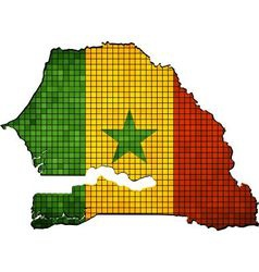 Map with senegalese flag inside vector