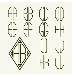 Set 1 templates of letters to create monogram vector