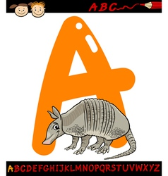 Letter a for armadillo cartoon vector