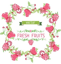 Square fruits frame vector