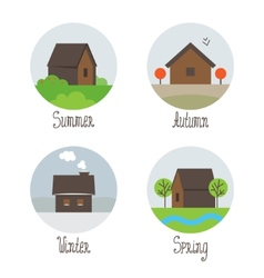 Set of village houses icons vector