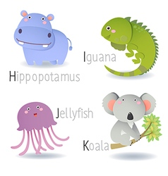 Alphabet with animals from h to k vector