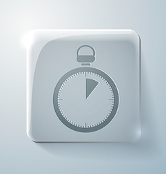Stopwatch glass square icon with highlights vector