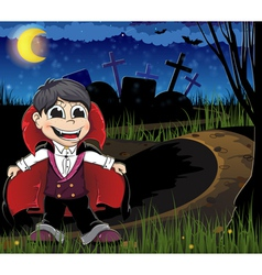 Vampire on a cemetery vector